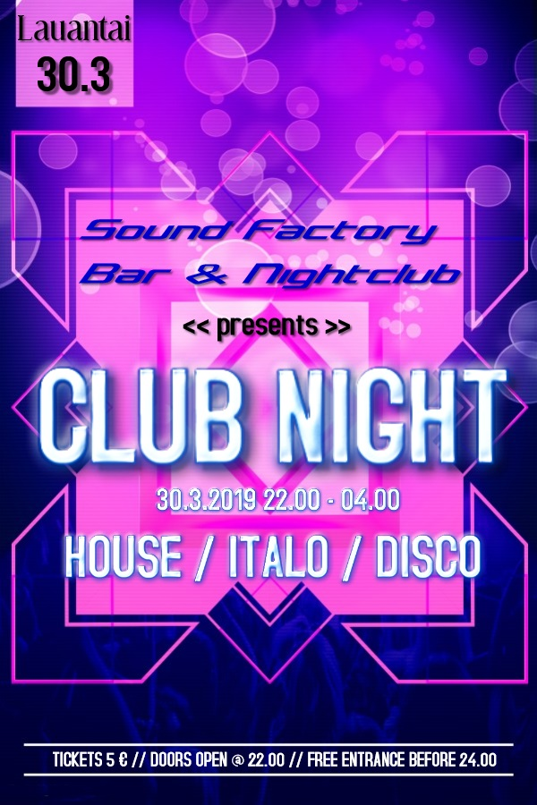 Club Night 30.3.2019