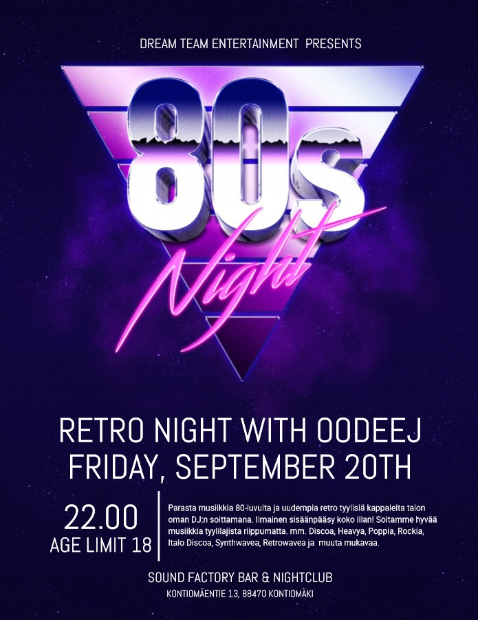 80s Night - Retro Night with OODEEJ perjantaina 20.9.2019.